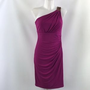 David Meister Purple One Shoulder Dress Size 2